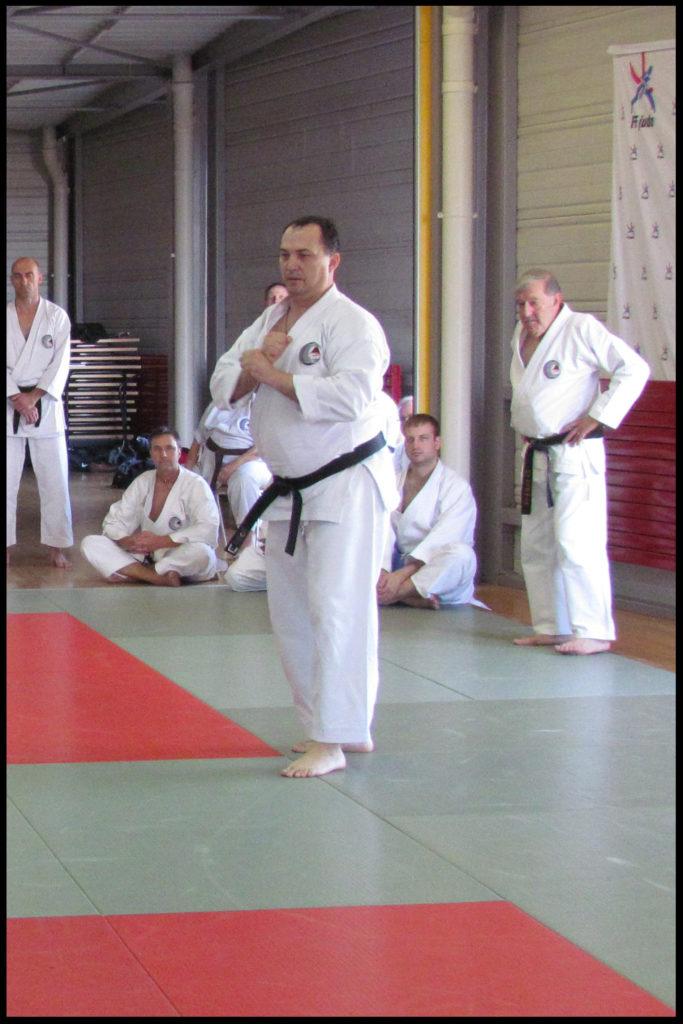 Sacha démontrant Chinto sous le regard attentif de tous les participants du stage.