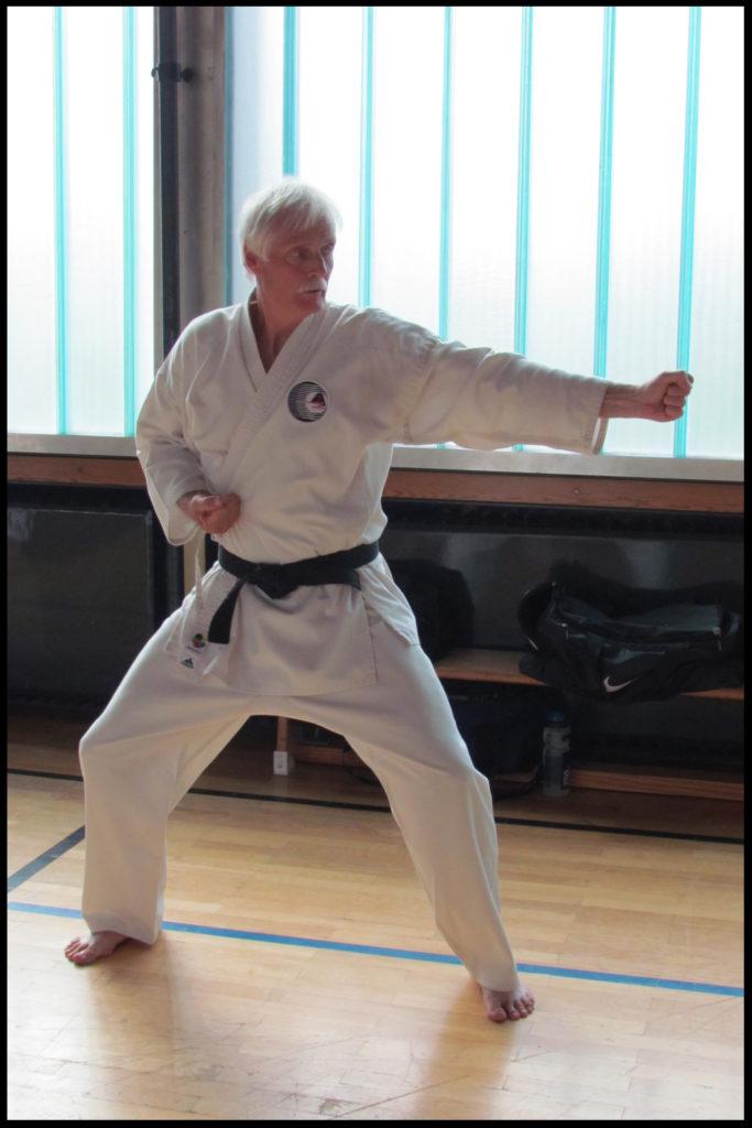 Patrick dans une phase du kata Rohai Shodan de l'Itosu-ryu