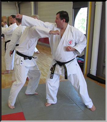 Patrick et André dans des phases de kumite.