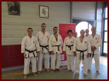 De gauche à droite : Didier, Christian, Michel, Marie-Andrée, James, O-Sensei, Patrick et Stephan.