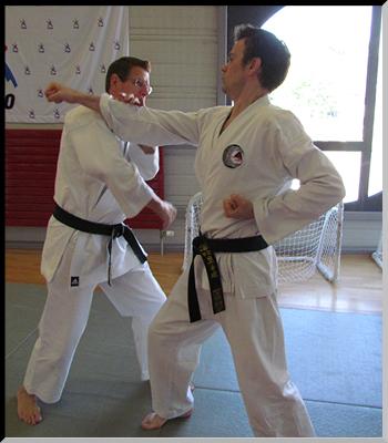 « Didier (à gauche) et Sébastien (à droite), deux ceintures noires du Dento Budo Dojo.