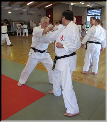 Patrick (à gauche) et André (à droite), deux ceintures noires du Dento Budo Dojo.