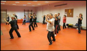 Photo prise lors d'un cours du lundi soir où l'on étudie la forme des 108 mouvements du style Yang.